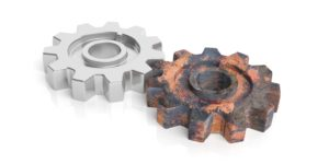 3d rendering silver and old rust gears on white background