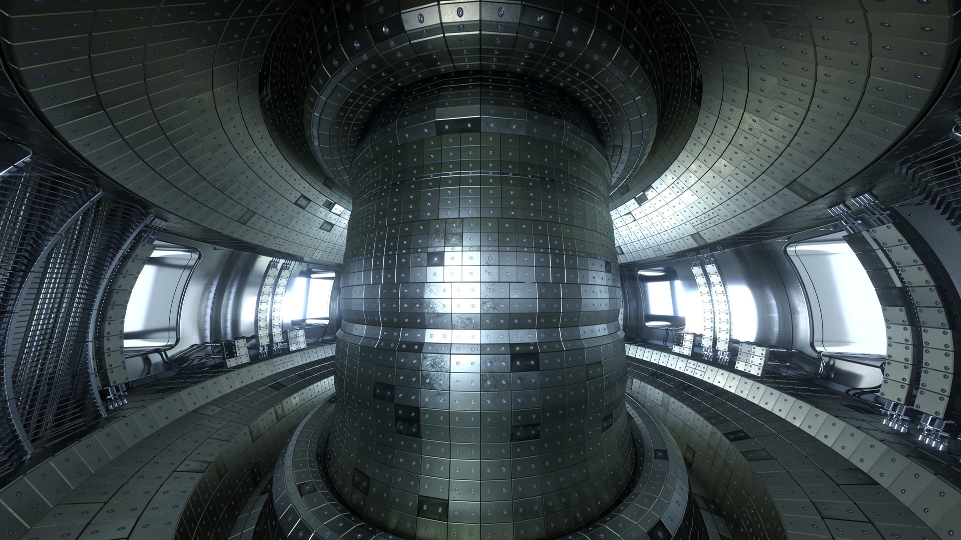 Thermonuclear torus fusion reactor chamber. Very detailed and beautiful artistic illustration